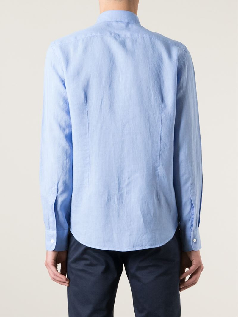 Lyst aspesi spread collar shirt in blue for men for Men s spread collar shirts