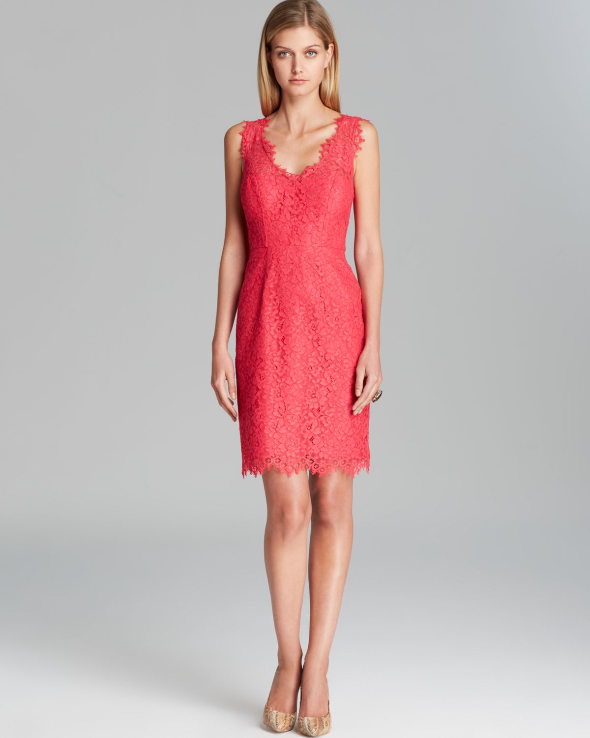 Lyst shoshanna dress rose sleeveless double v neck lace sheath in pink gallery ombrellifo Image collections