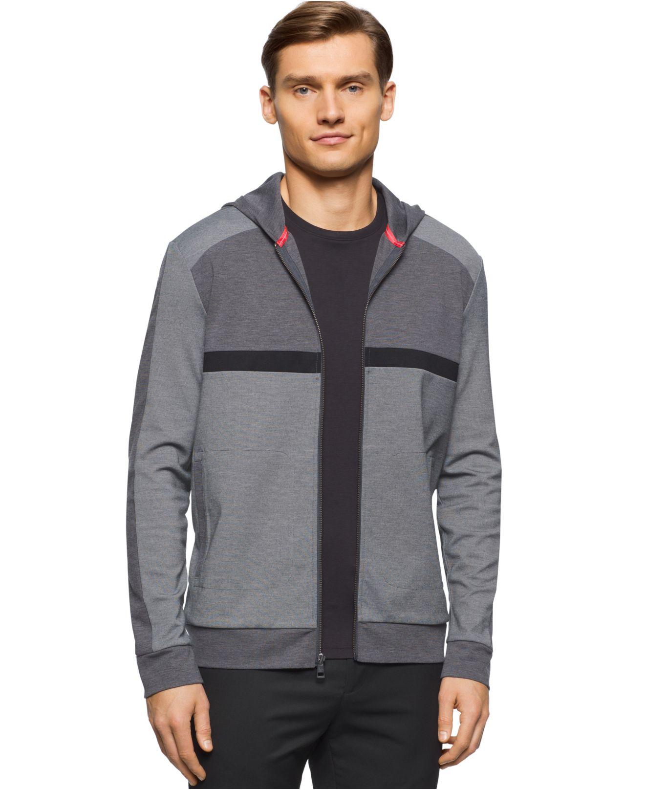 calvin klein men 39 s colorblocked hoodie sweatshirt in black for men lyst. Black Bedroom Furniture Sets. Home Design Ideas