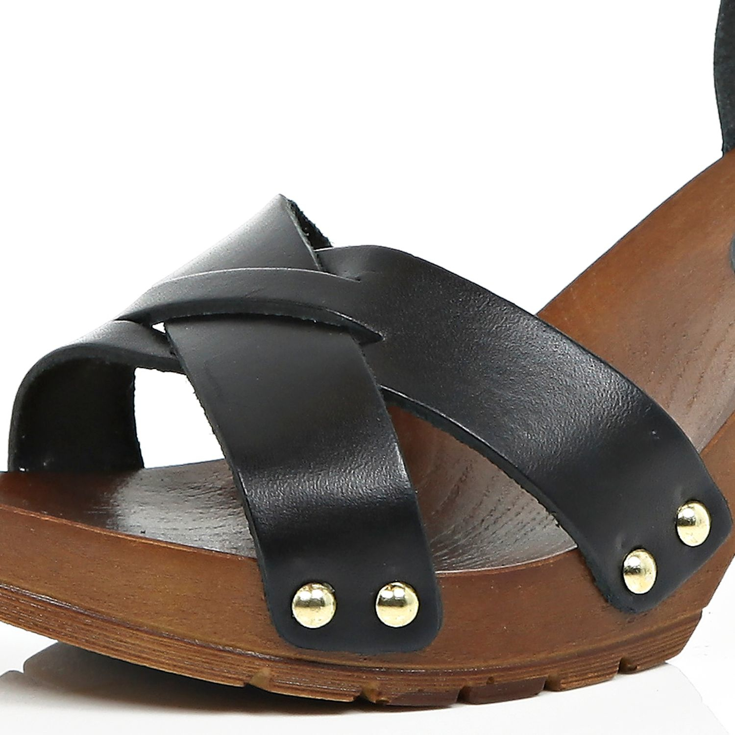 River Island Black Leather Wooden Heel Clogs Lyst