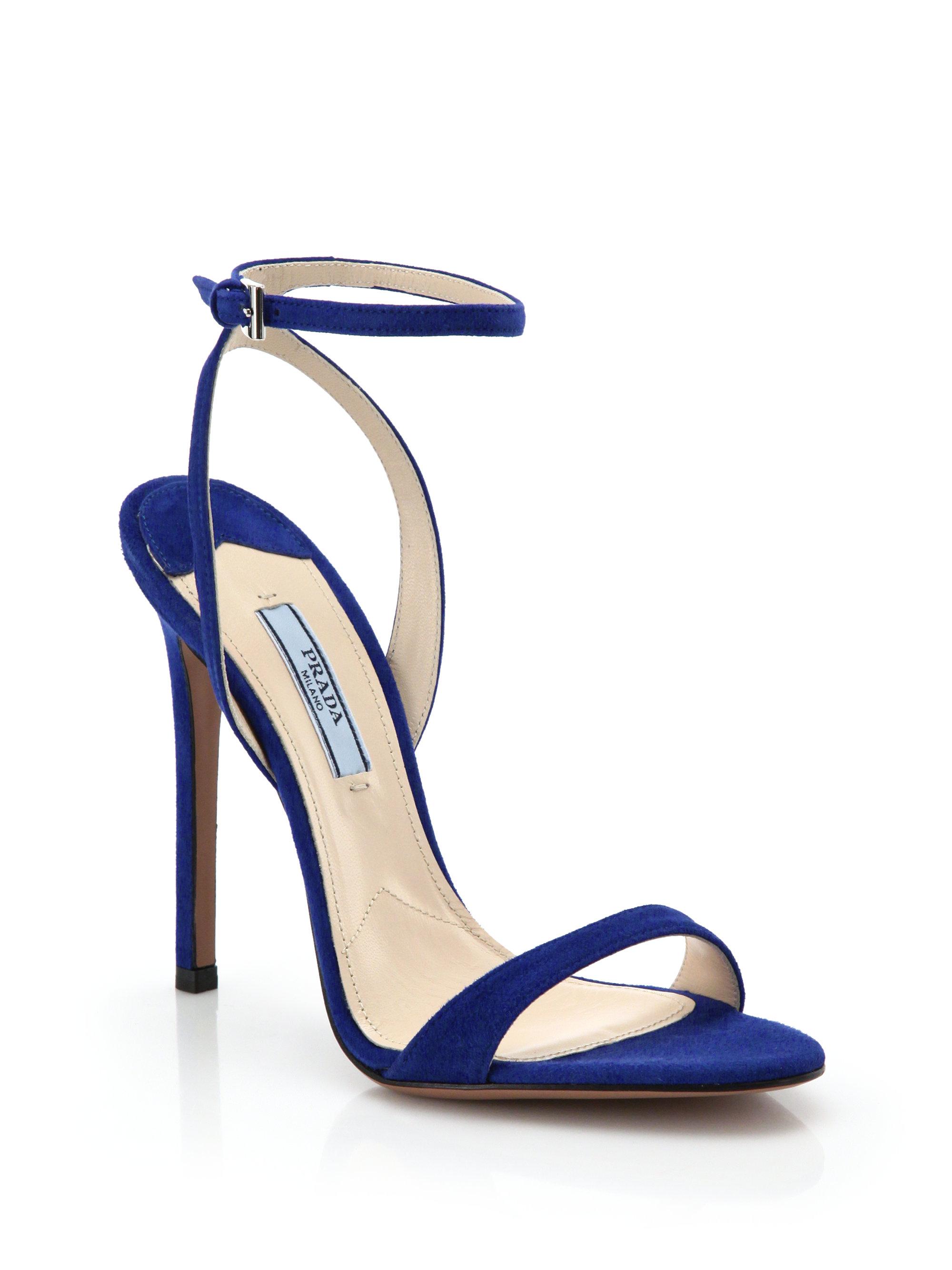 Prada Suede Sandals in Blue - Lyst