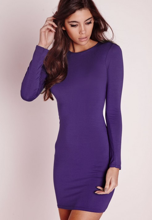Long Sleeve Purple Dress - Dress Xy