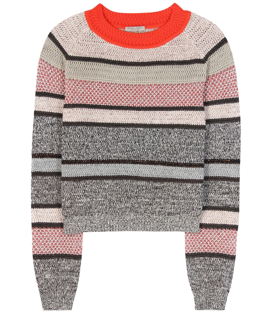 Bottega veneta Metallic Striped Cotton-blend Sweater | Lyst