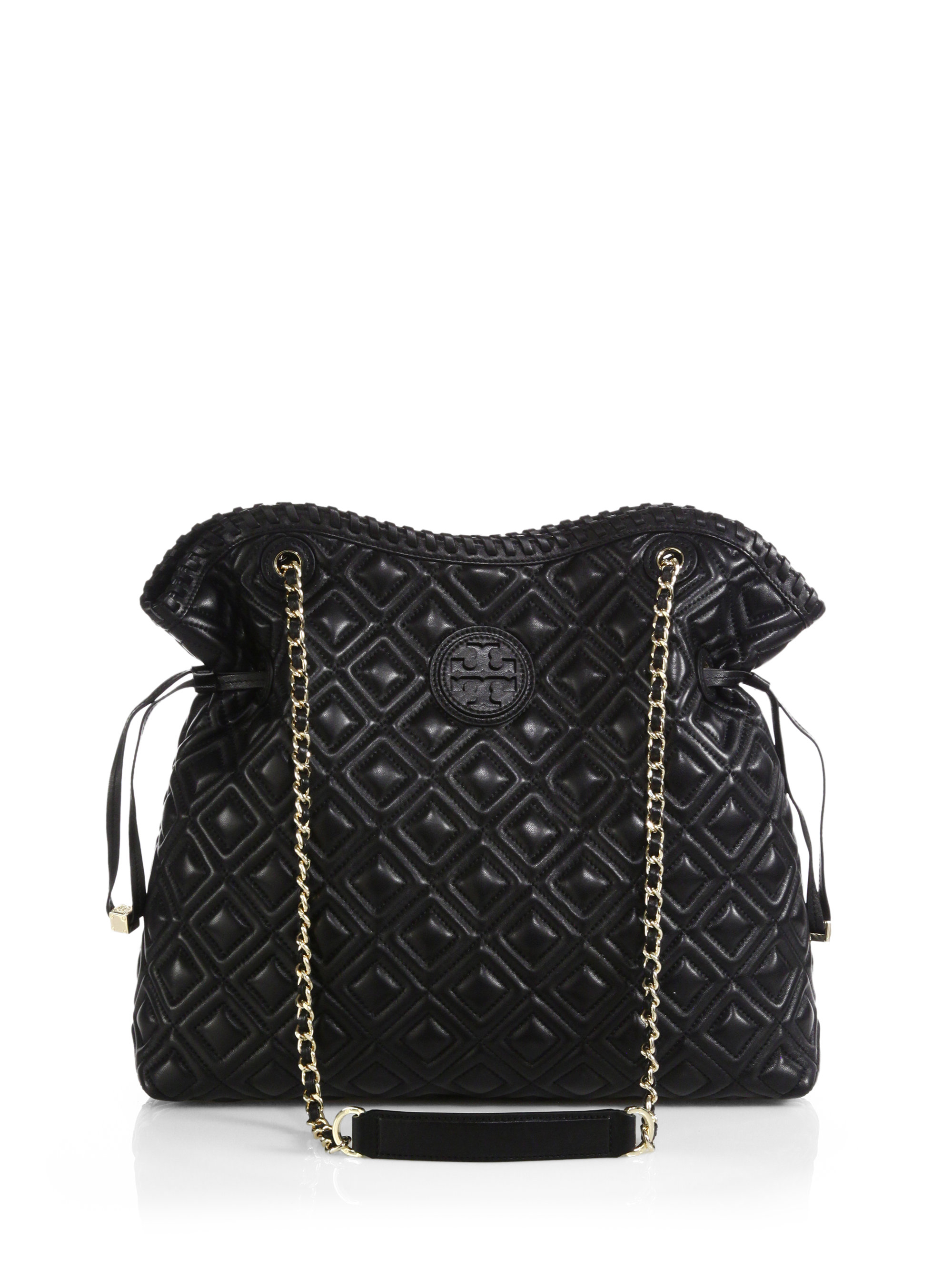 Lyst - Tory burch Marion Quilted Slouchy Tote in Black : marion quilted - Adamdwight.com