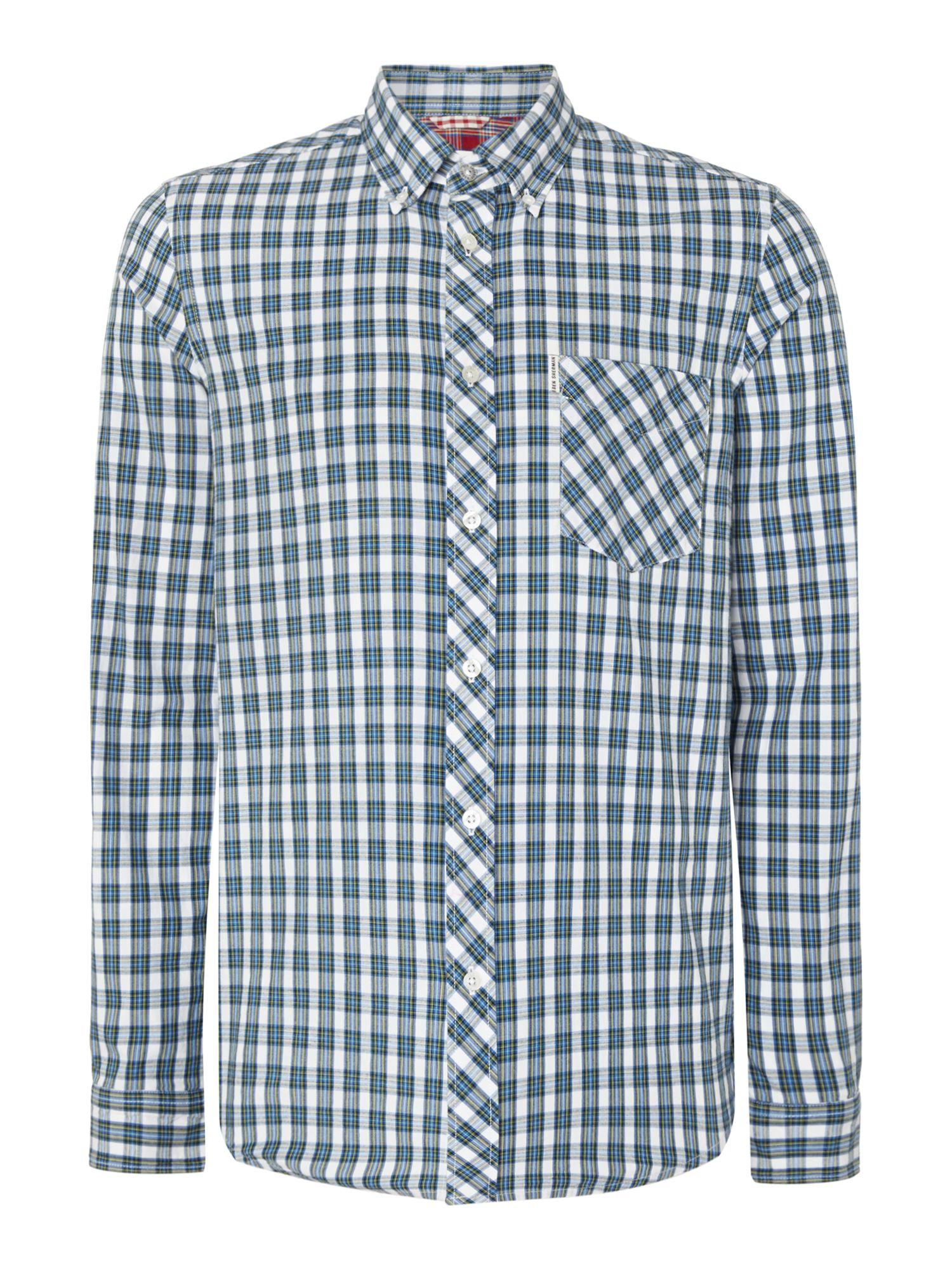 Ben Sherman Oxford Tartan Check Long Sleeve Shirt In Blue