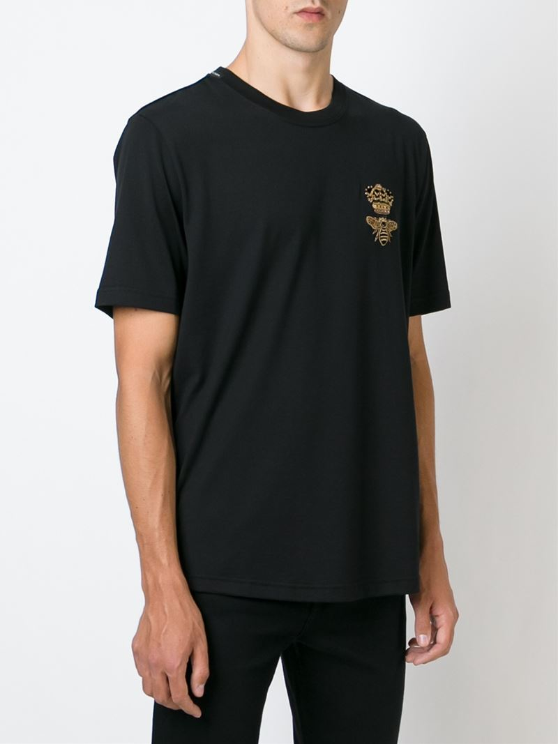 0694762dbe Lyst - Dolce   Gabbana Crown   Bee Applique Embroidered T-shirt in ...