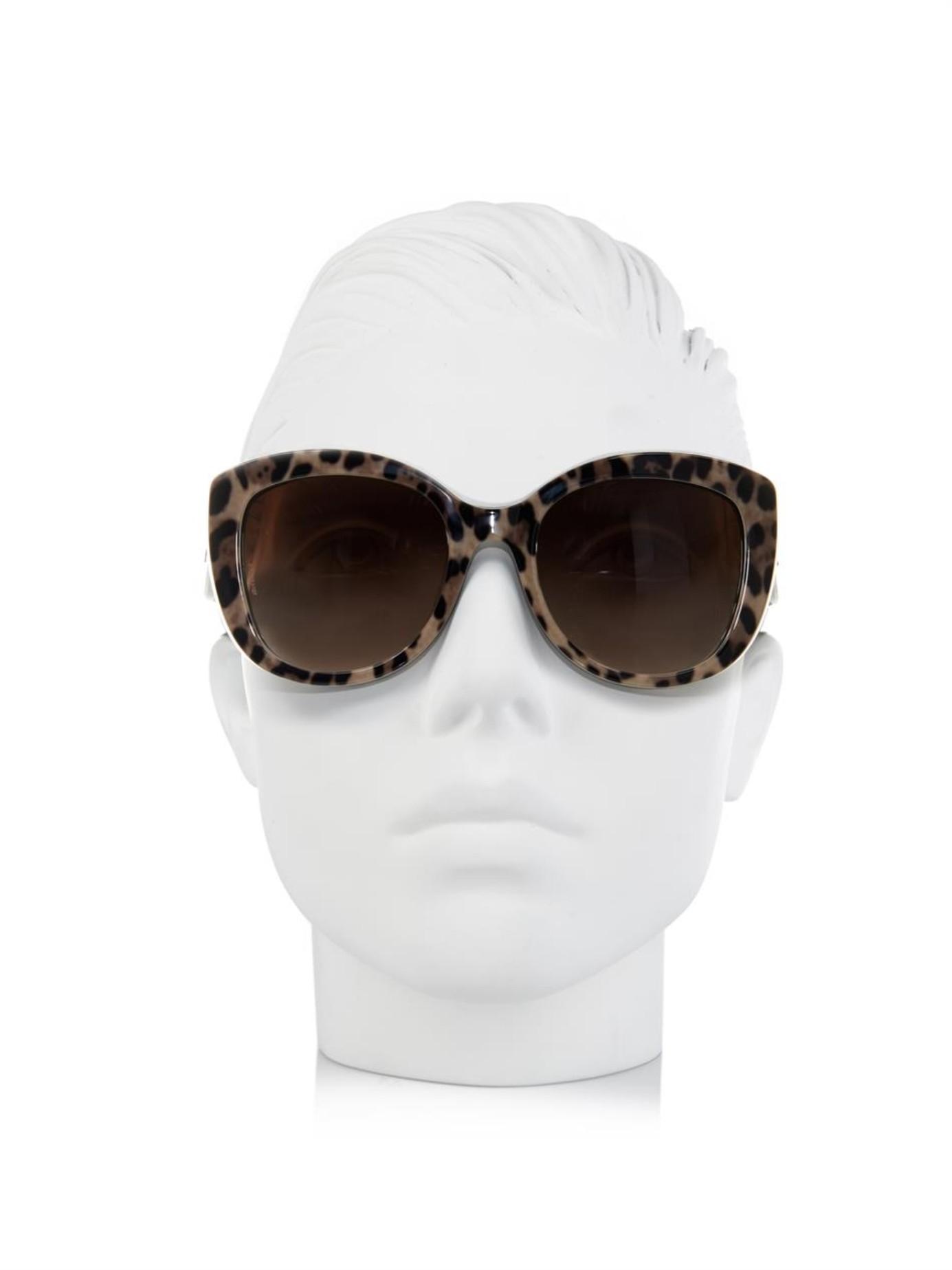 0df83c3e5 Dolce & Gabbana Leopard-Print Cat-Eye Sunglasses - Lyst
