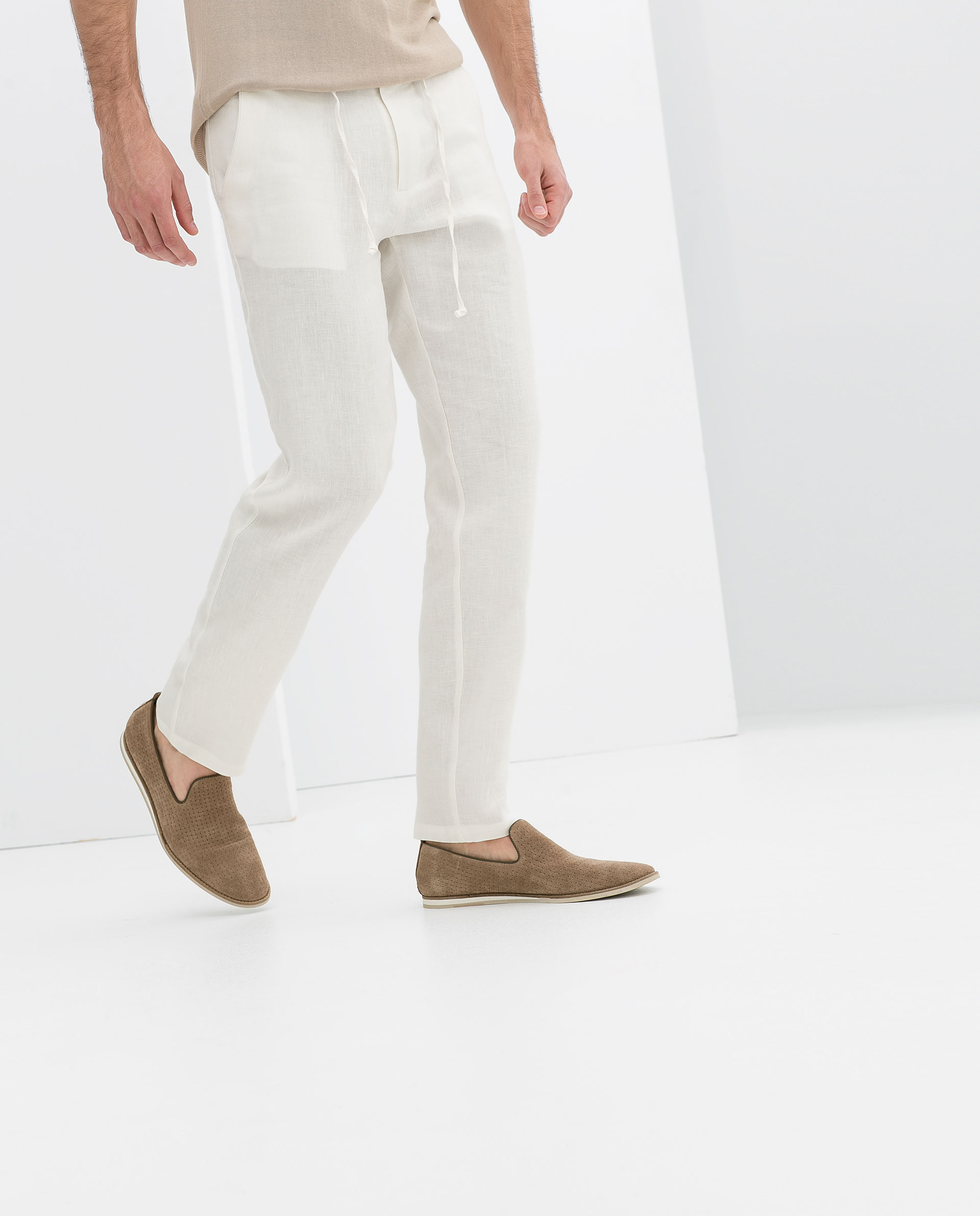 Zara Drawstring Linen Trousers in White for Men | Lyst