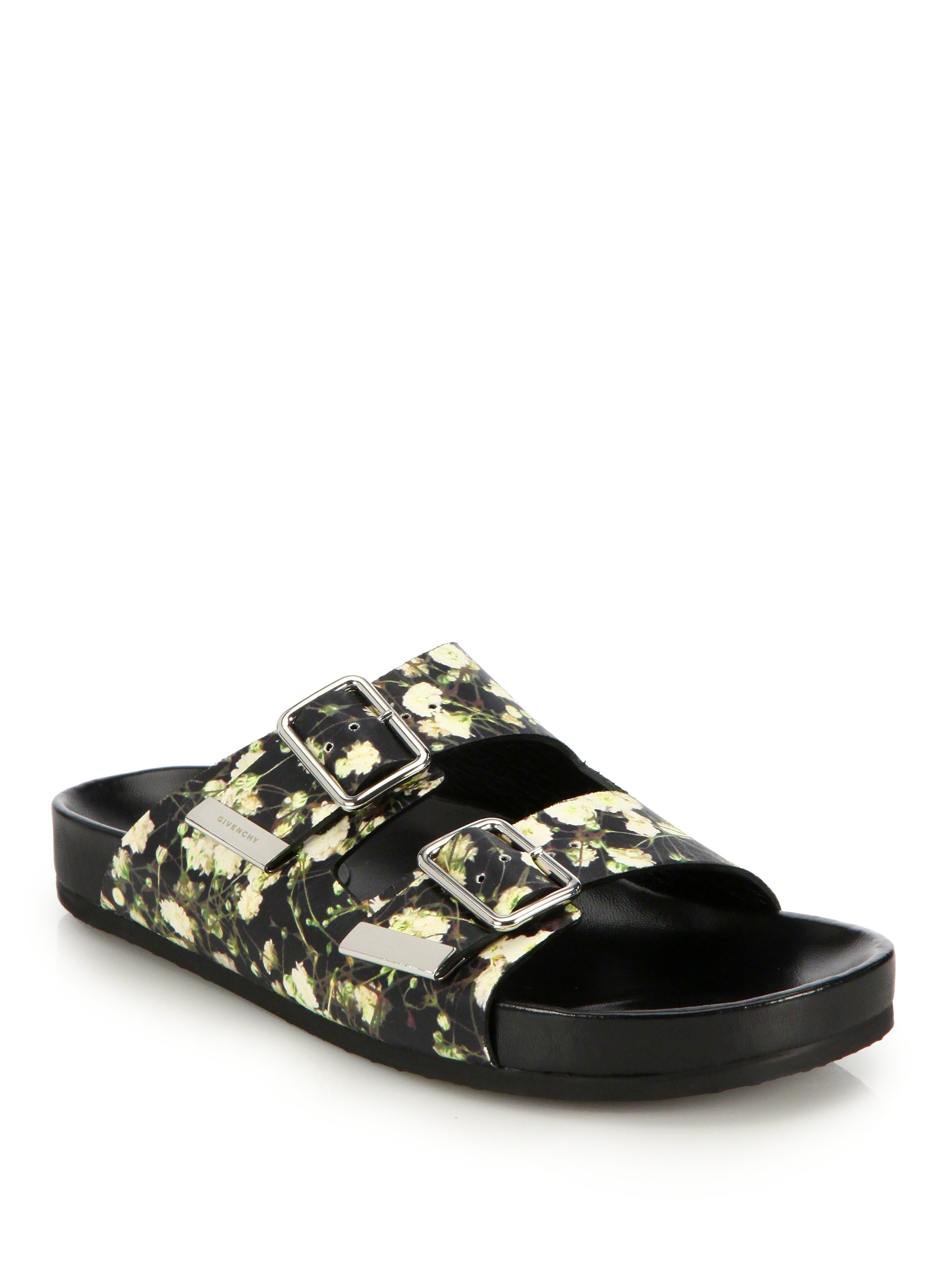 Givenchy Baby's Breath Printed Leather Slide Sandals | Lyst