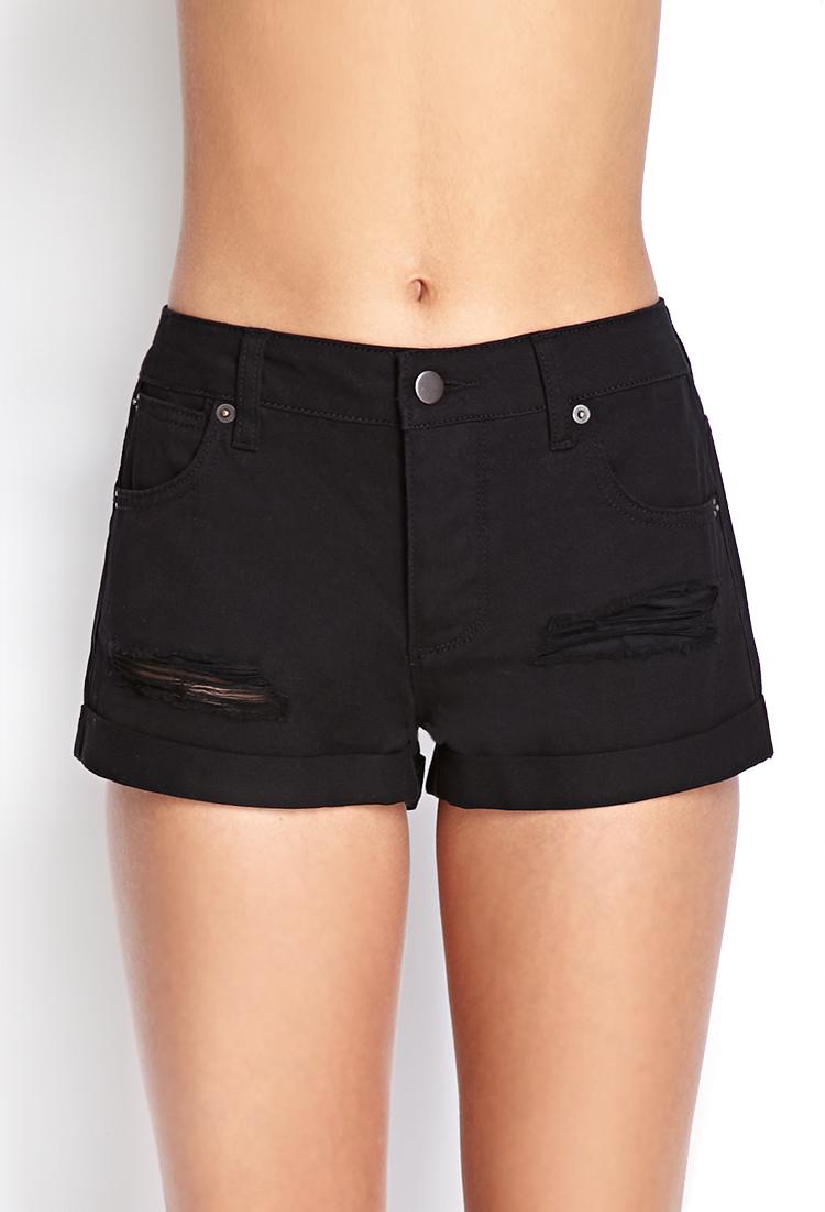 Forever 21 Cuffed Distressed Denim Shorts in Black (Denim ...