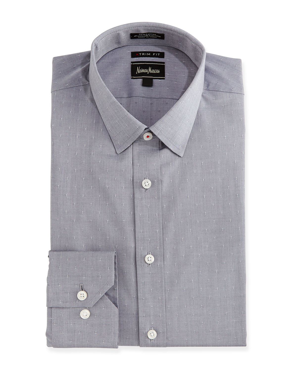 Neiman marcus extra trim fit regular finish dotted dress for Extra trim fit dress shirt