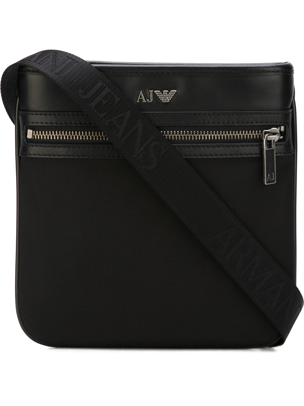 Armani jeans Nylon Messenger Bag With Detail In Leather in Black ...