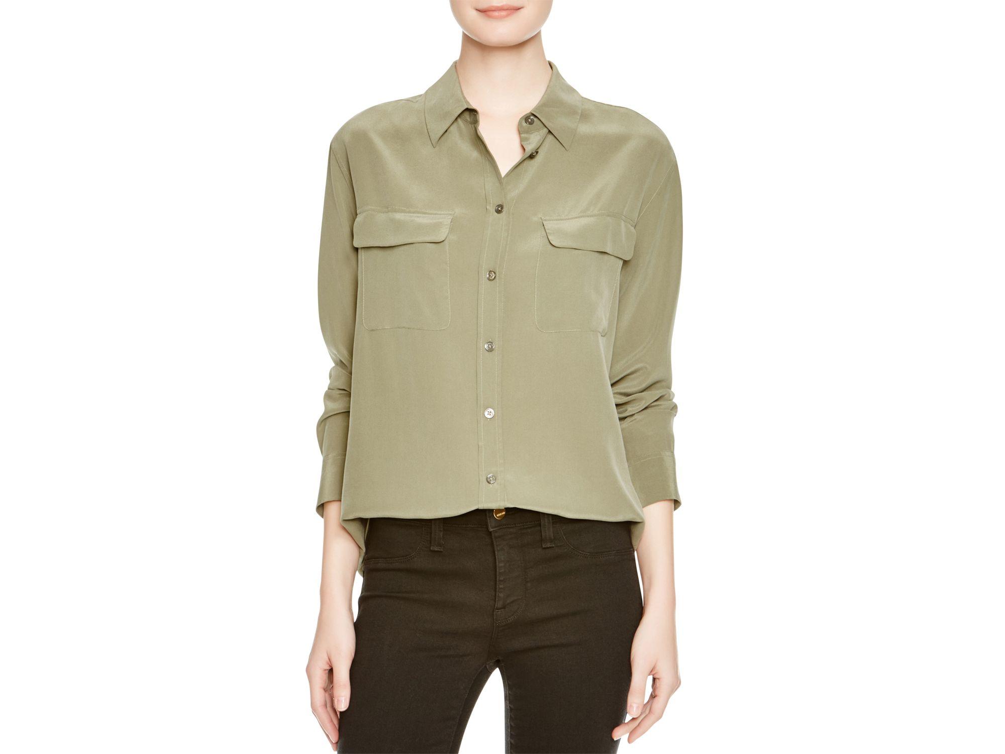 Equipment slim signature silk shirt in green lyst for Equipment signature silk shirt