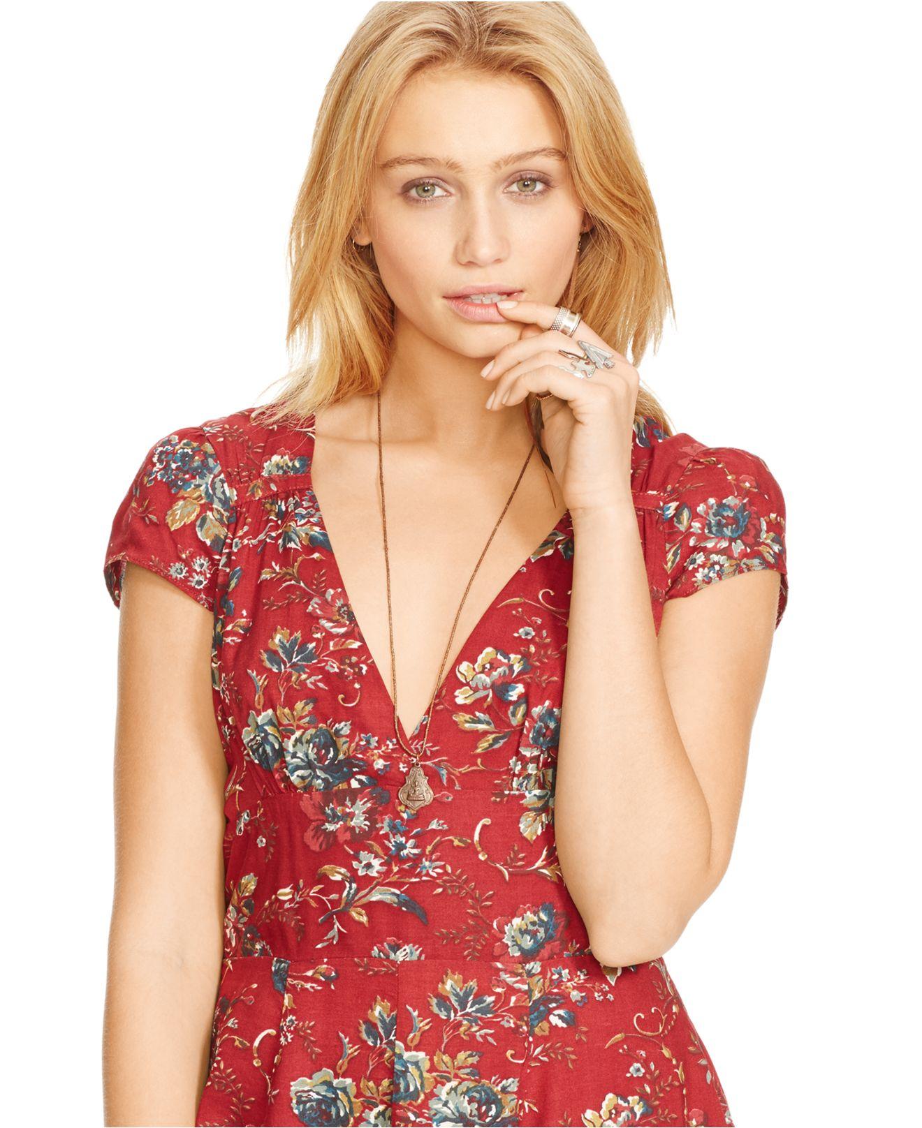 Denim Amp Supply Ralph Lauren Floral Waterfall Hem Dress In