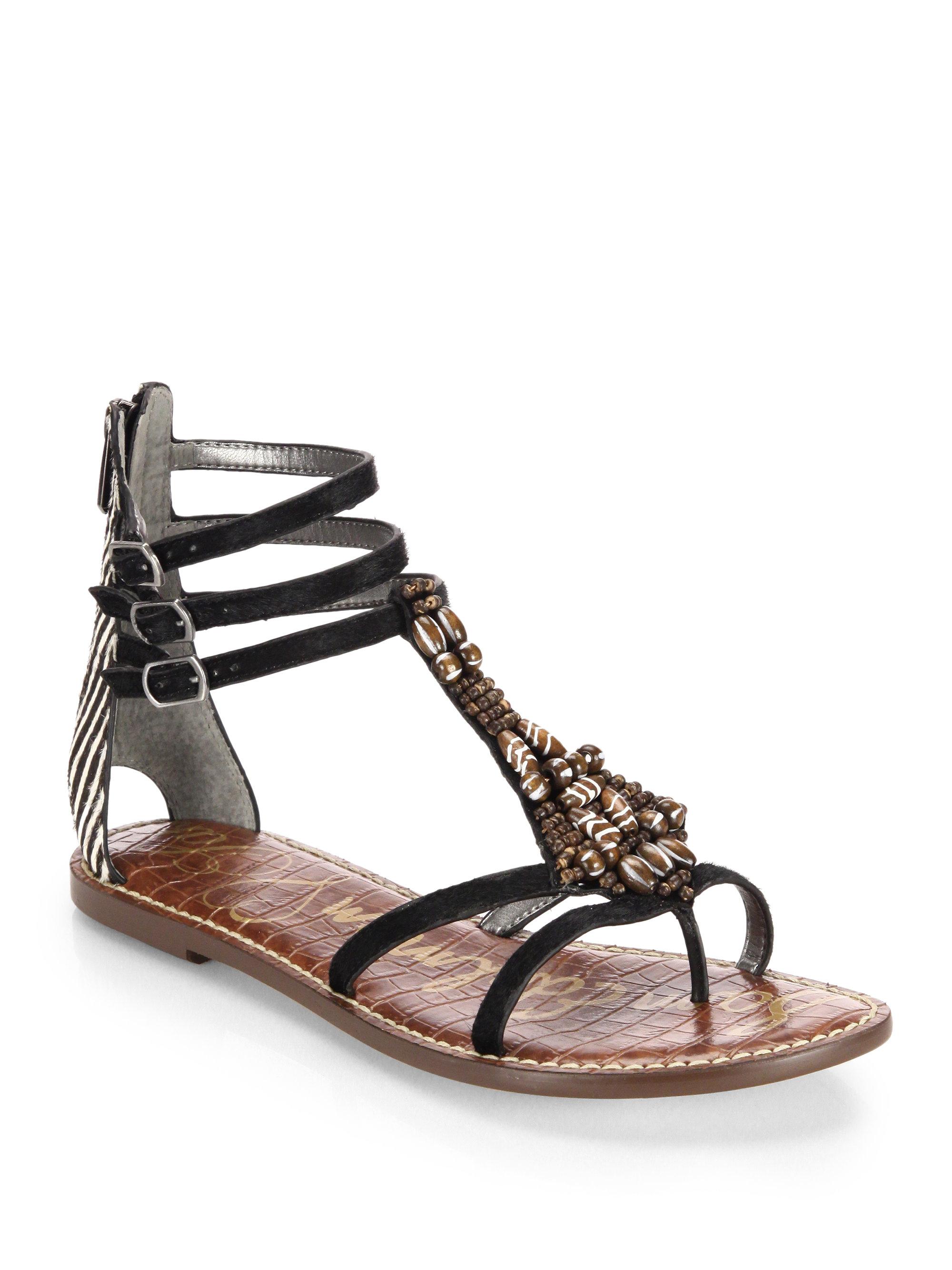 Black Beaded Flat Shoes