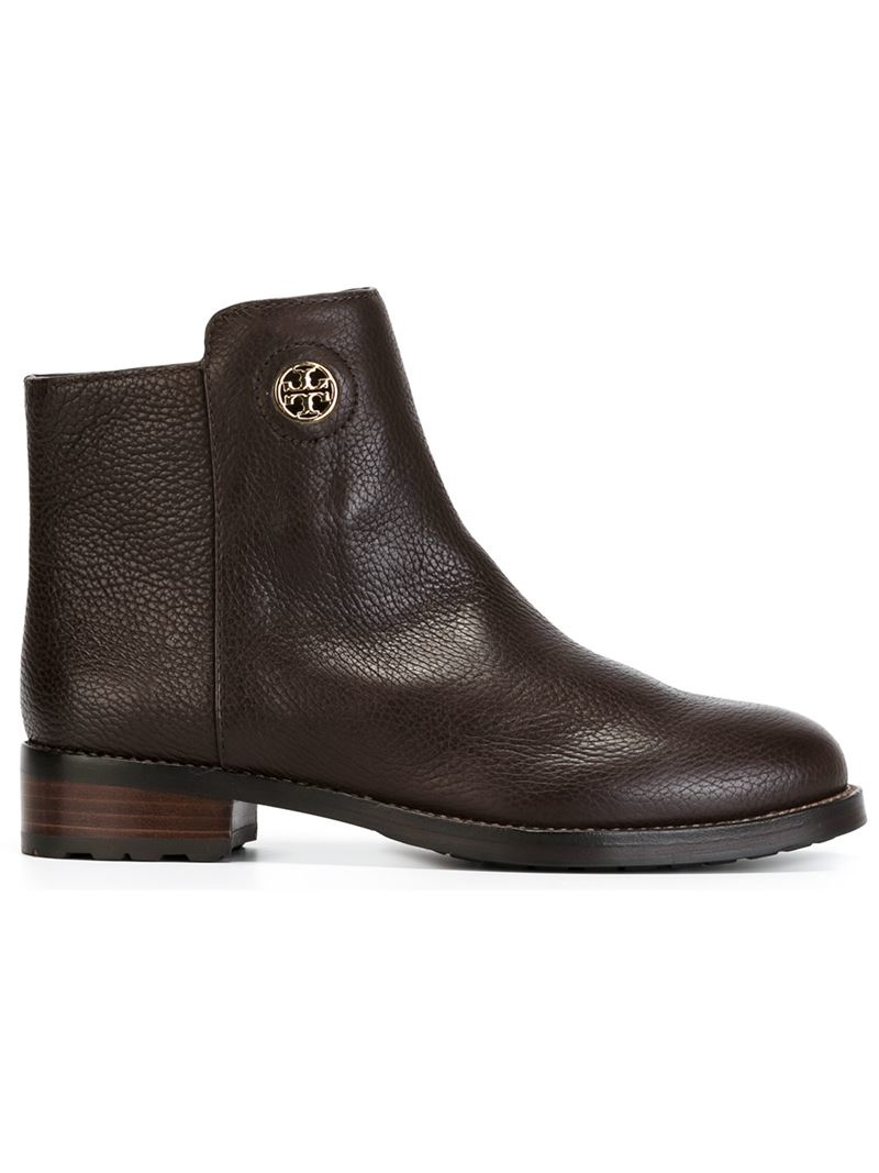 Tory Burch Logo Boots In Brown Lyst