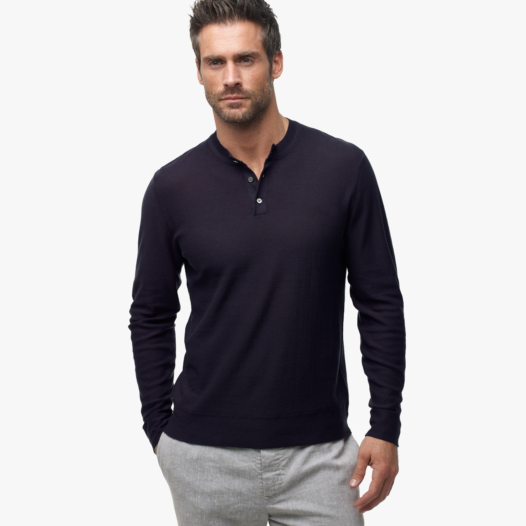 James Perse Gassed Cotton Henley Sweater In Black For Men