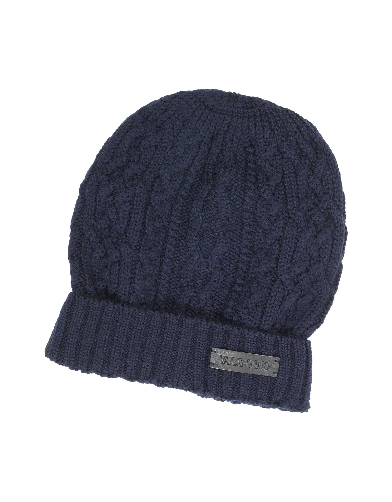Lyst Valentino Cable Knit Wool Men S Hat In Blue For Men