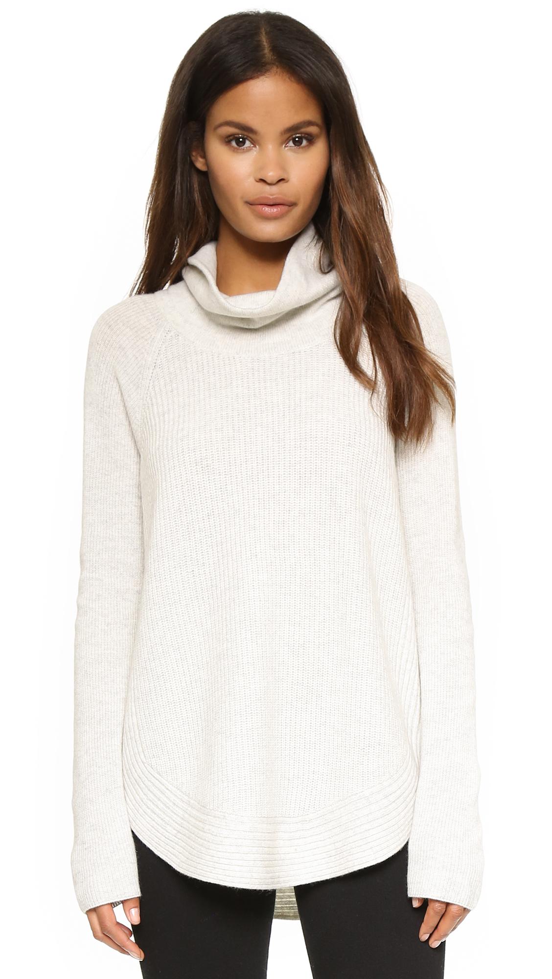 Vince Side Zip Rib Turtleneck Sweater In H Cloud White