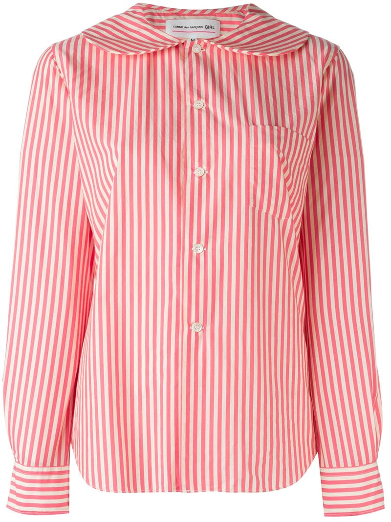 Lyst Comme Des Gar Ons Peter Pan Collar Striped Shirt In