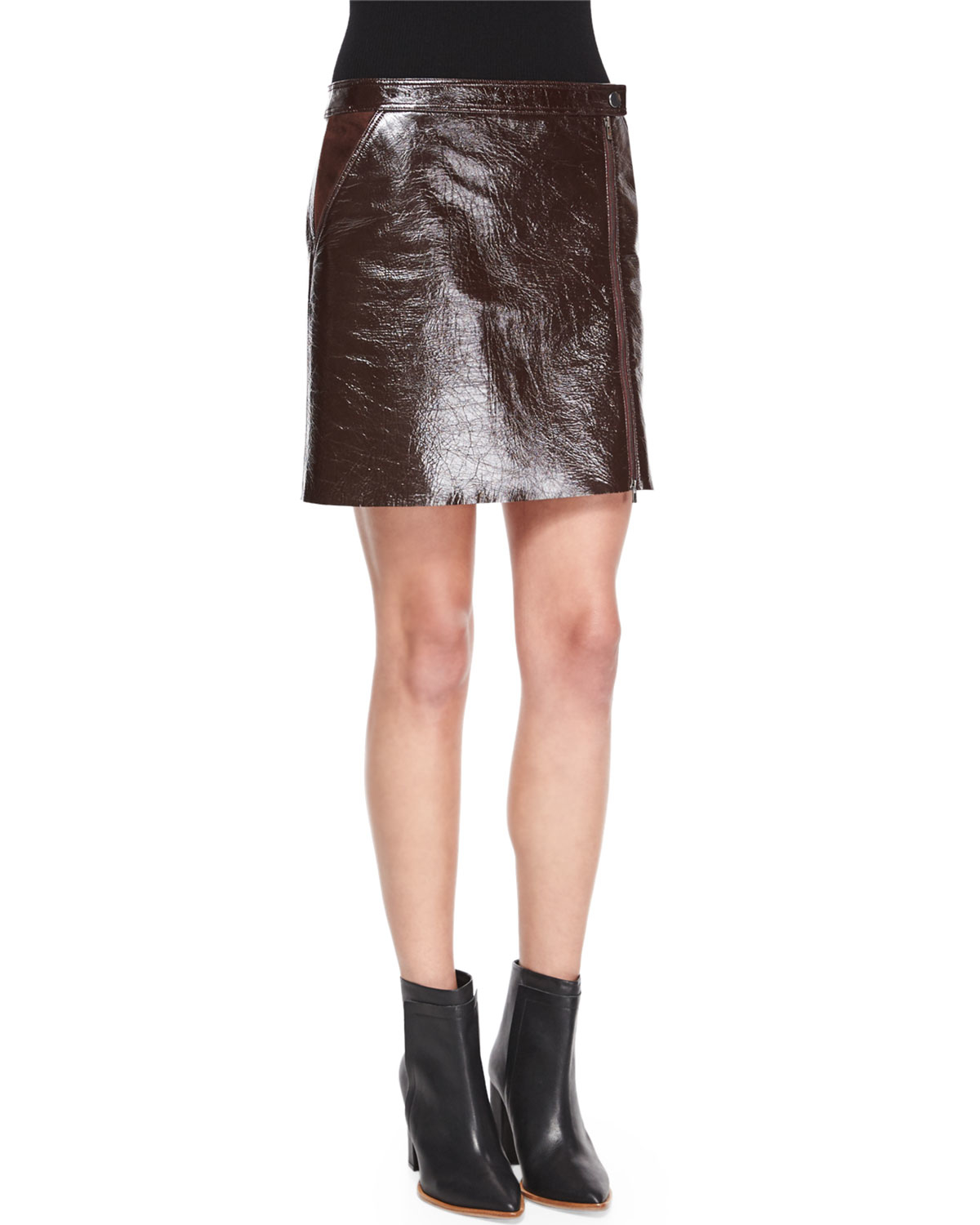 theory berdin l polished leather skirt in brown lyst