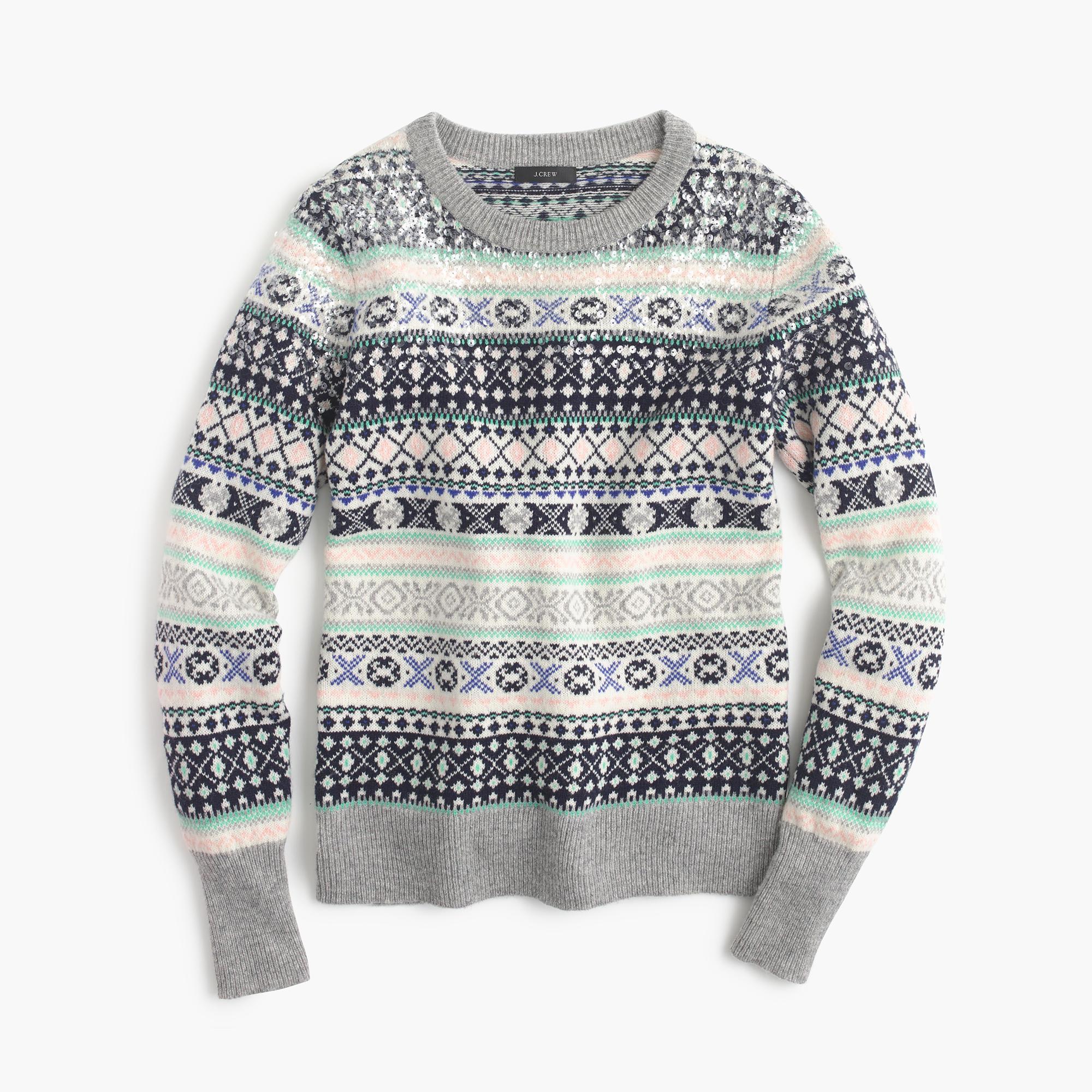 Lyst Jcrew Sequin Fair Isle Sweater In Gray