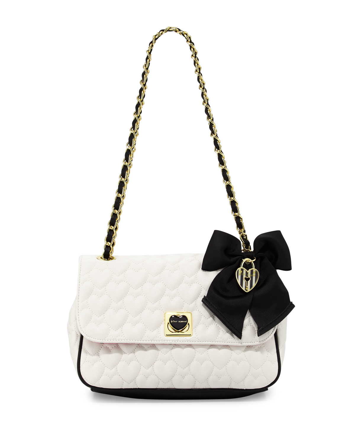 Betsey Johnson Be Mine Quilted Shoulder Bag In White Lyst