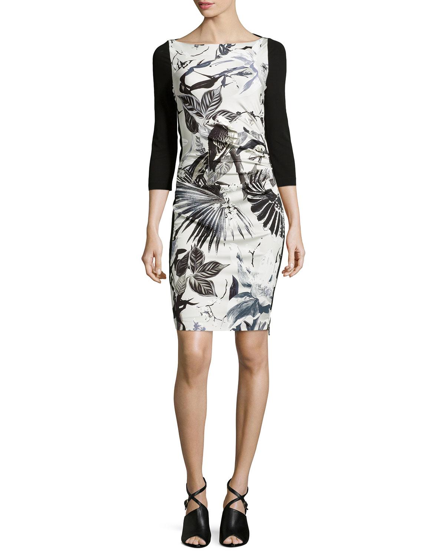 Roberto cavalli Floral Foil Print Sheath Dress in Black