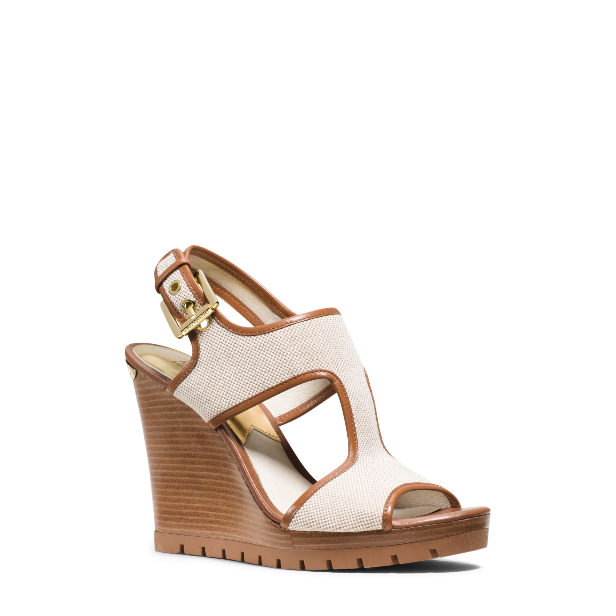 Michael Kors Gillian Canvas And Leather Wedge in Natural Lyst