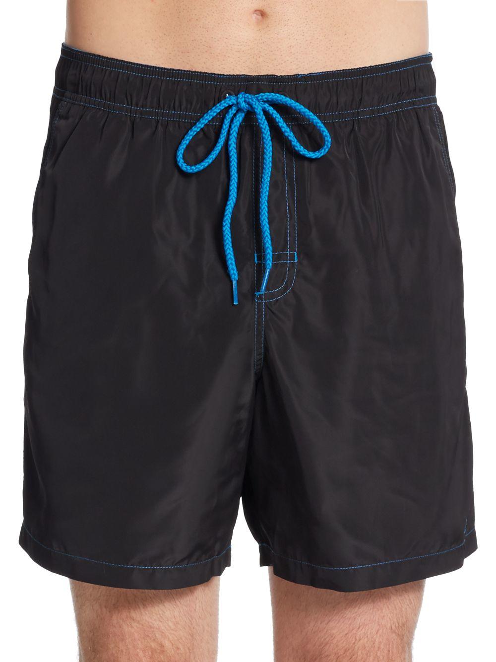 calvin klein contrast trim swim trunks in black for men lyst. Black Bedroom Furniture Sets. Home Design Ideas