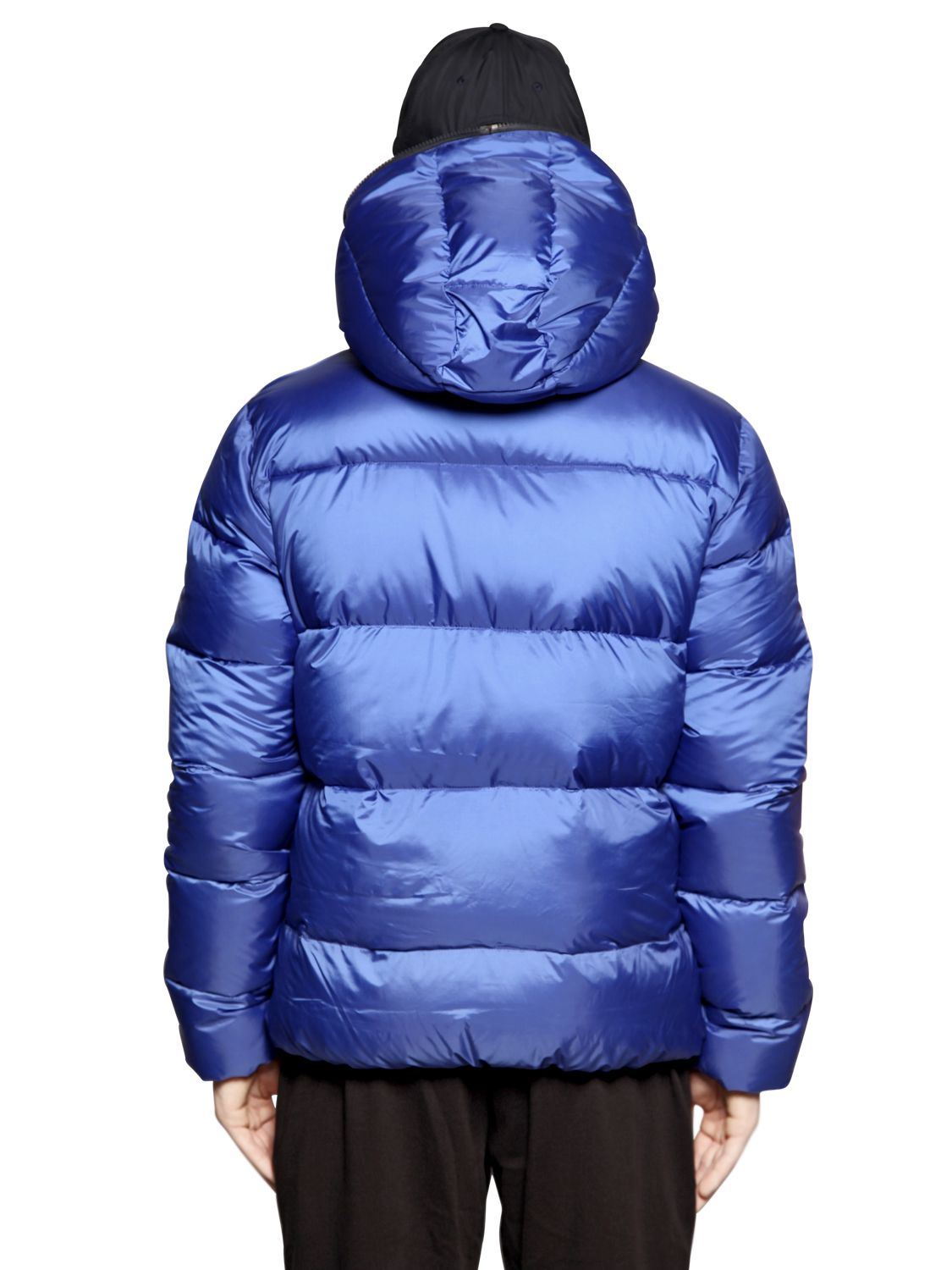 Ea7 Total Zip Up Nylon Ripstop Down Jacket In Blue For Men