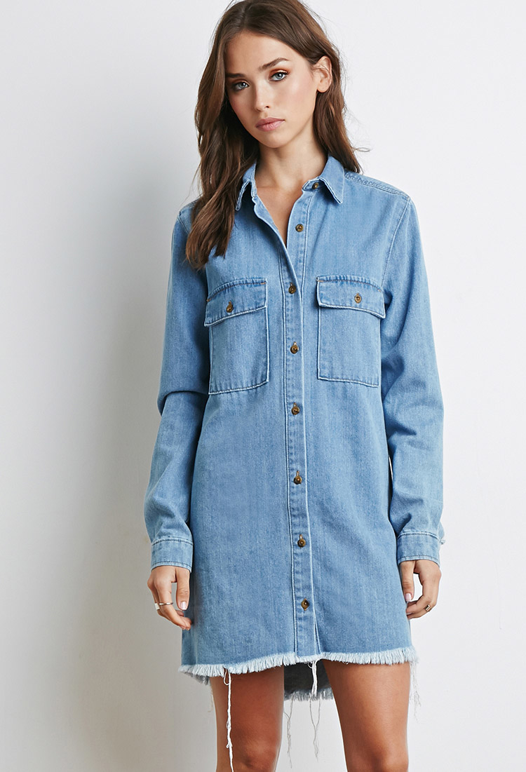 8c40843d090 Lyst - Forever 21 Frayed Denim Shirt Dress in Blue