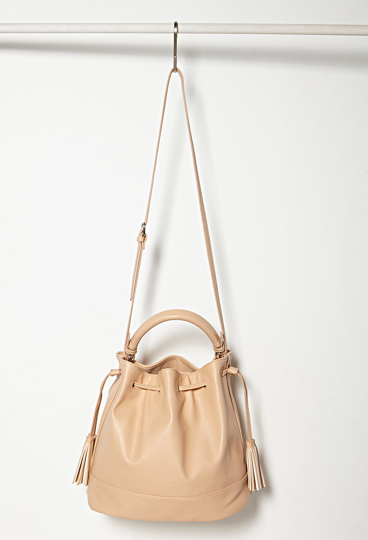 65e08388df6 Forever 21 Natural Faux Leather Bucket Bag You've Been Added To The Waitlist