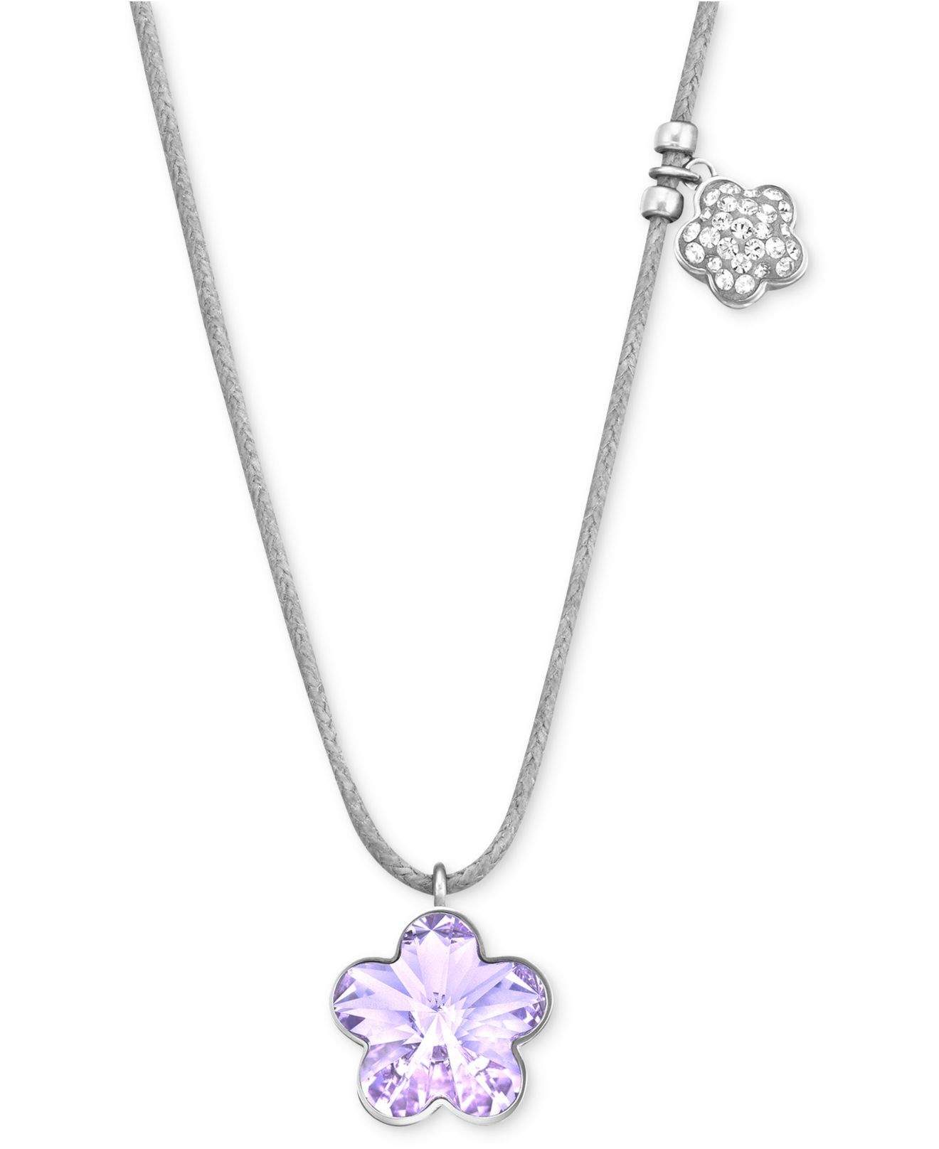 Lyst swarovski rhodium plated violet flower crystal pendant gallery previously sold at macys womens swarovski crystal necklace aloadofball Image collections