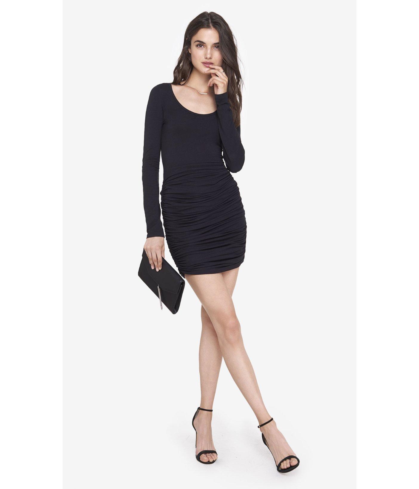 95b9fb22b5255 Express Black Long Sleeve Ruched Dress in Black - Lyst