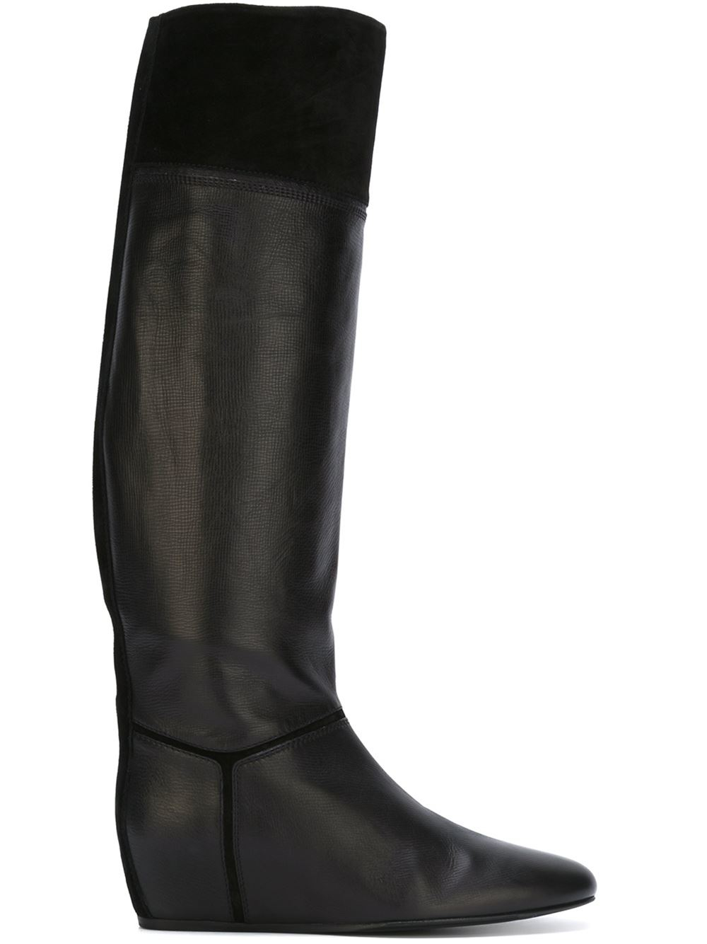 lanvin concealed wedge boots in black lyst