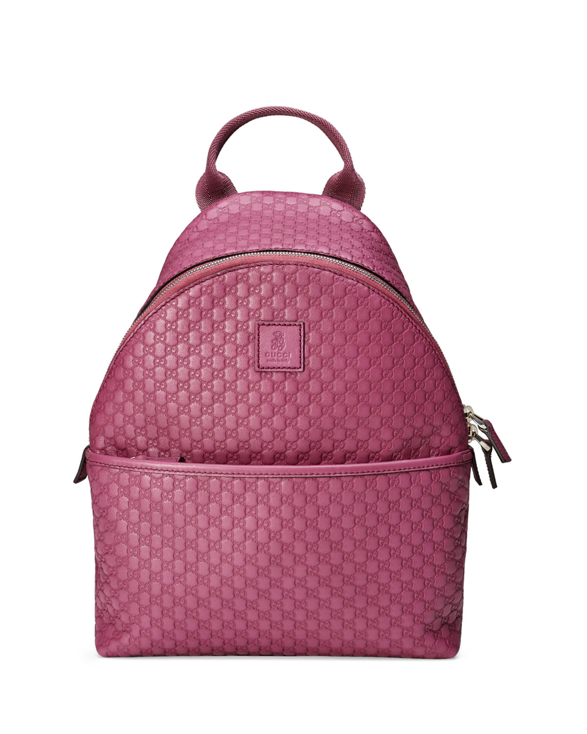 Gucci Girls Microssima Leather Zip Top Backpack In Pink