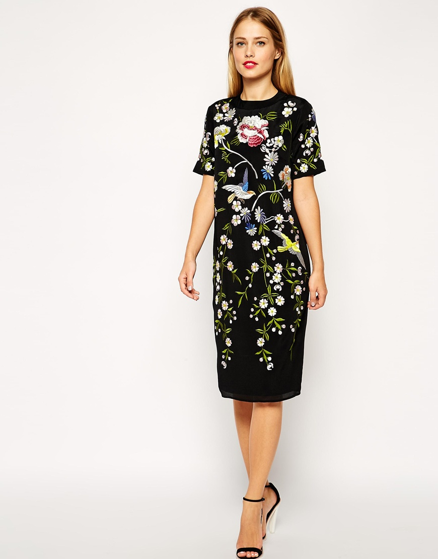 Asos bird and floral embroidered shift dress in black lyst