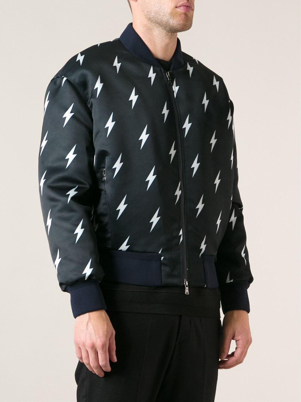 Lighting Jacket: Neil Barrett Lightning Bolt Print Jacket In Blue