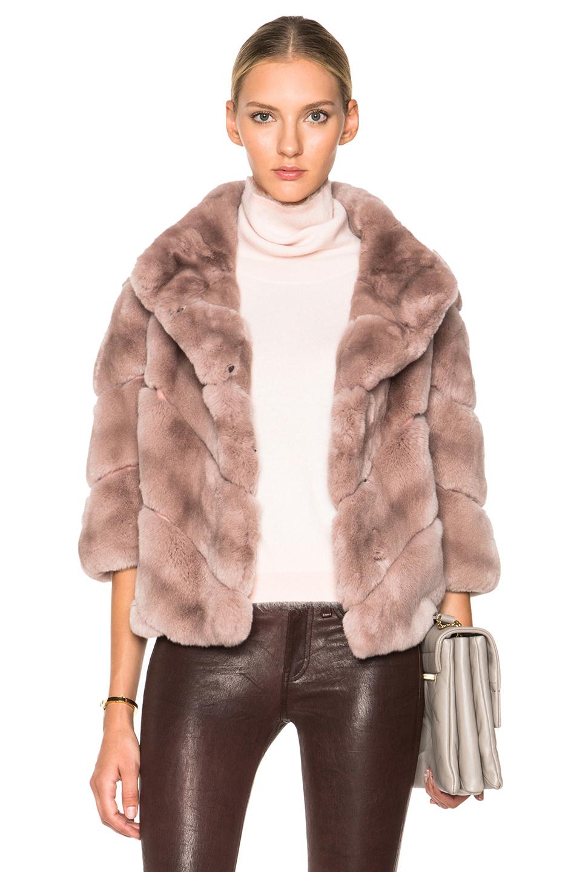 yves salomon short rex fur coat in natural