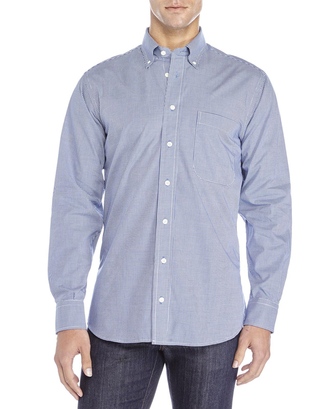 Gitman bros mini gingham button down shirt in blue for men for Blue gingham button down shirt
