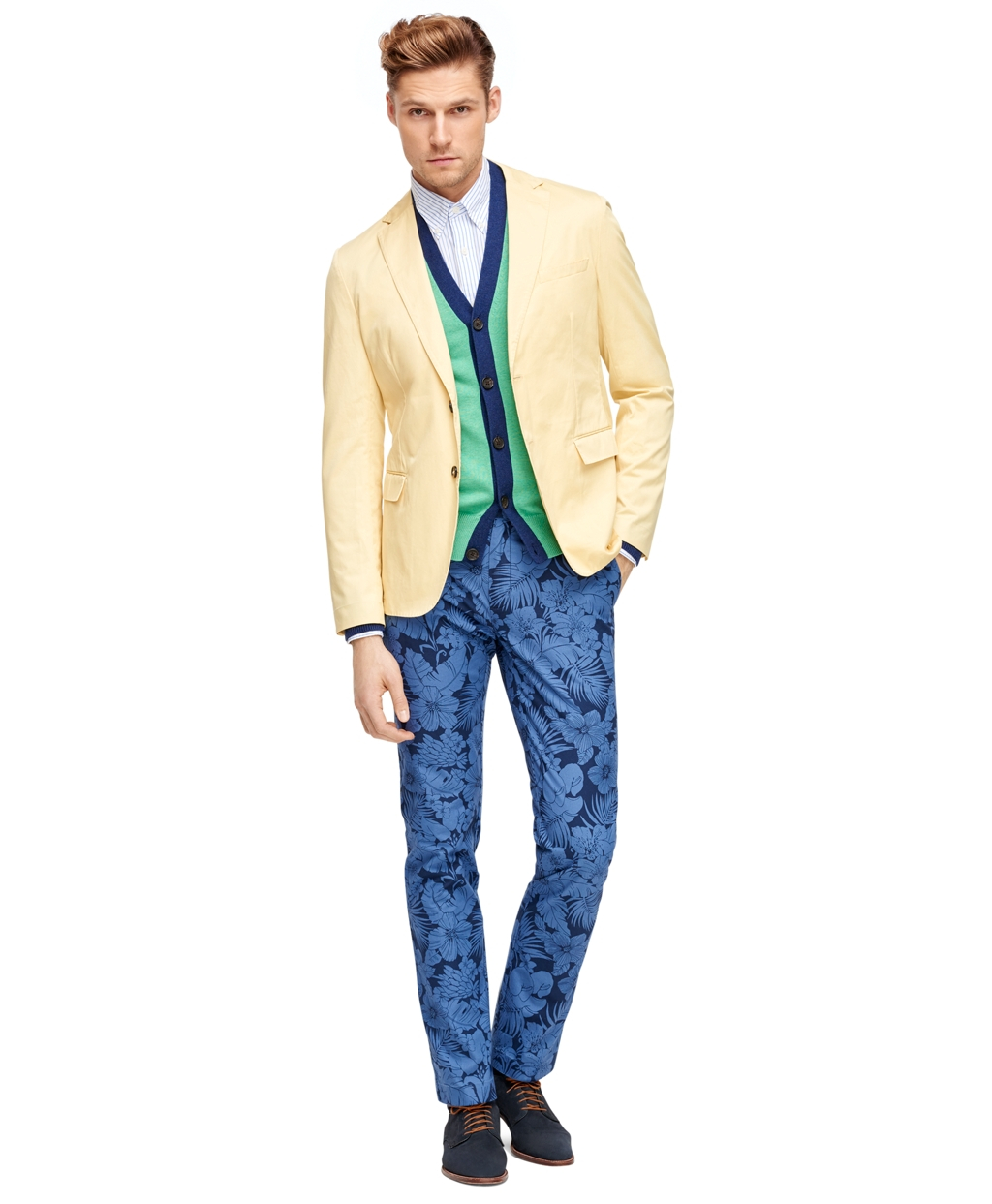 Brooks brothers Tropical Print Chinos in Blue for Men | Lyst