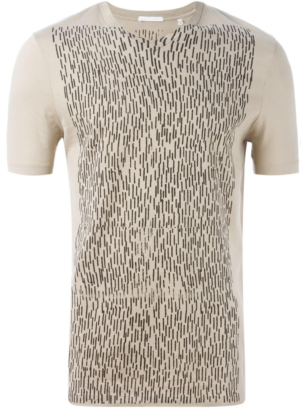 helmut lang front print t shirt in natural for men lyst. Black Bedroom Furniture Sets. Home Design Ideas
