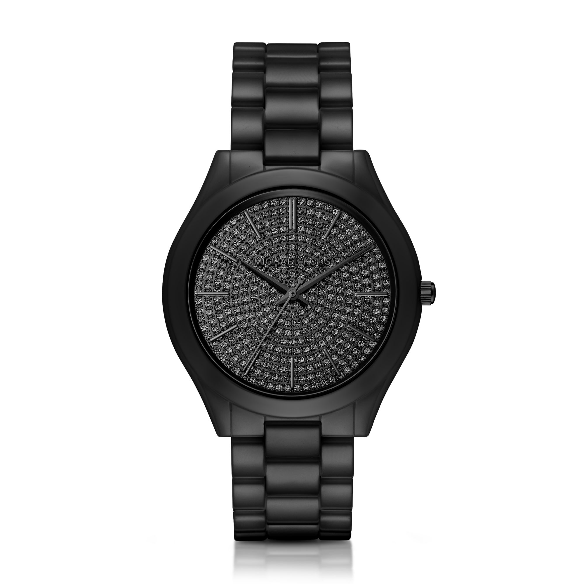 5b9cd851d Michael Kors Slim Runway Pave Black Tone Ceramic Watch In Lyst