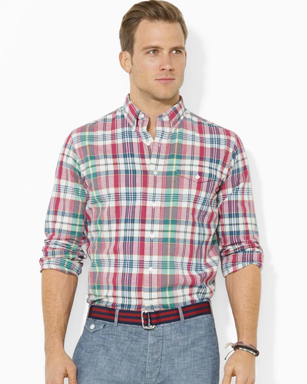 968d759f Ralph Lauren Polo Madras Bleecker Pocket Button Down Shirt - Regular ...