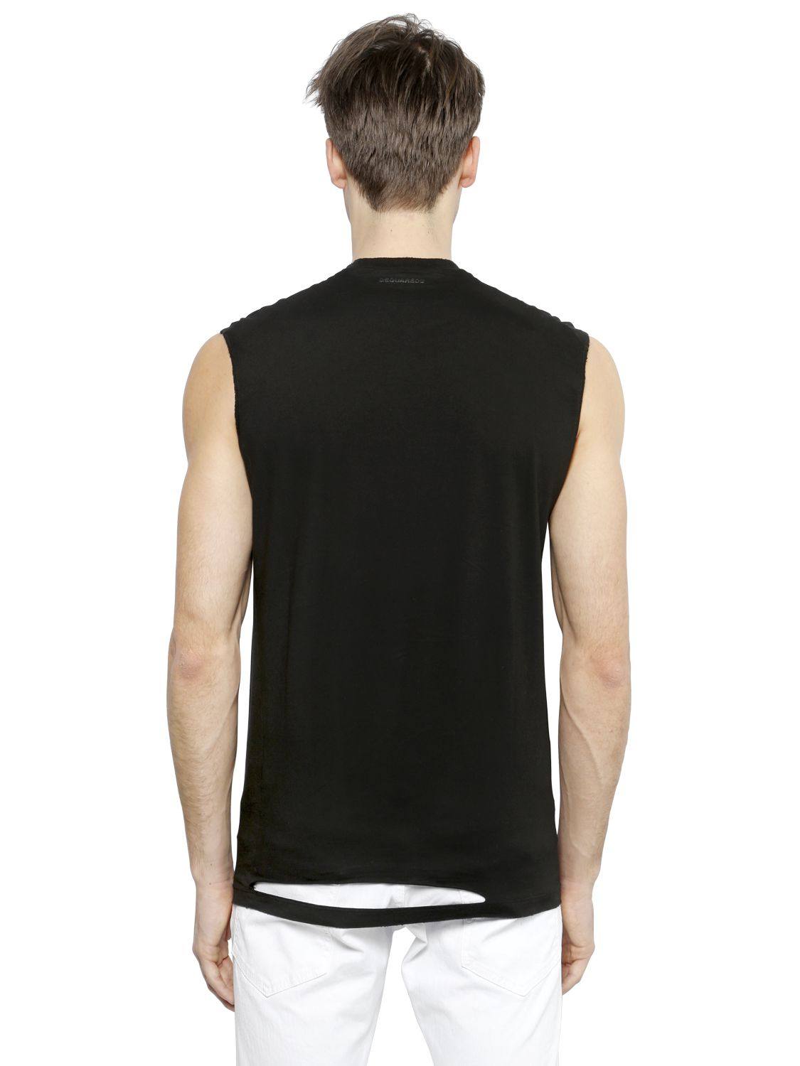 Lyst Dsquared Sleeveless Printed Cotton T Shirt In
