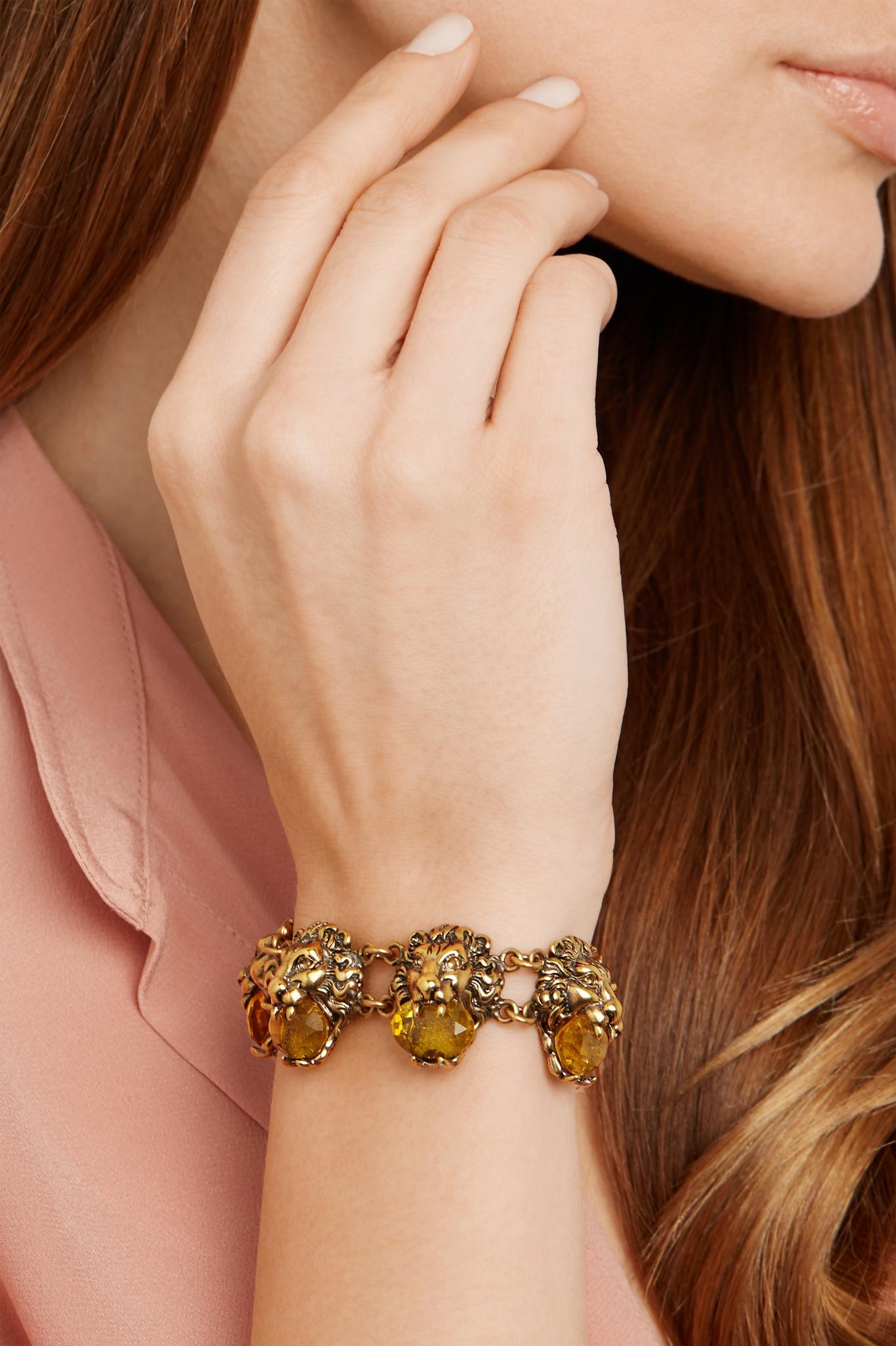 a7ea25ff7e9 Gucci Gold-tone Crystal Bracelet in Metallic - Lyst