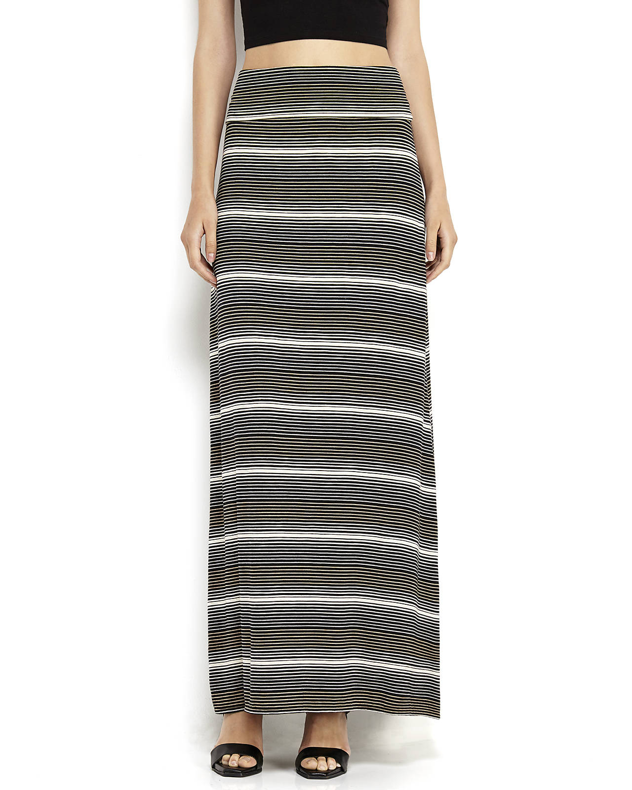 max studio striped jersey maxi skirt in black black