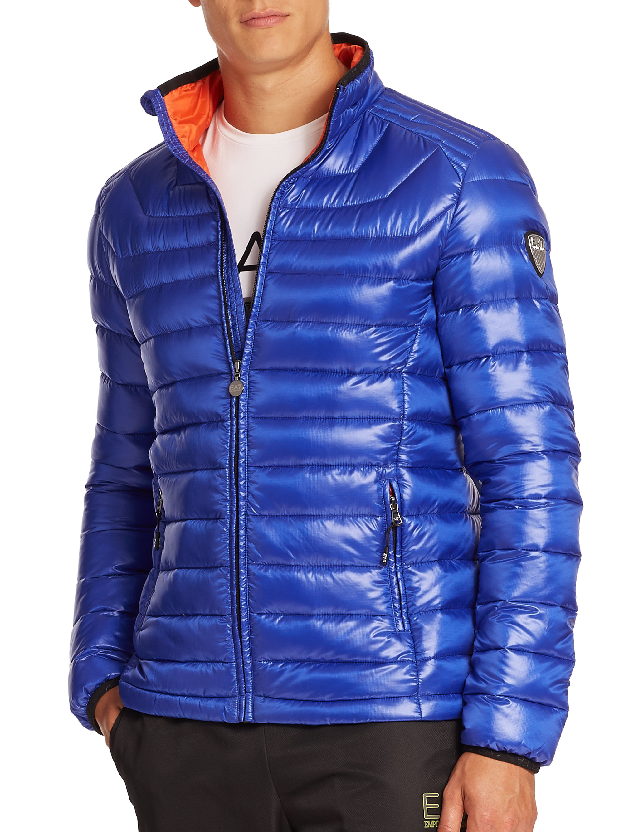 39e2ddbd48 EA7 Blue Quilted Puffer Jacket for men