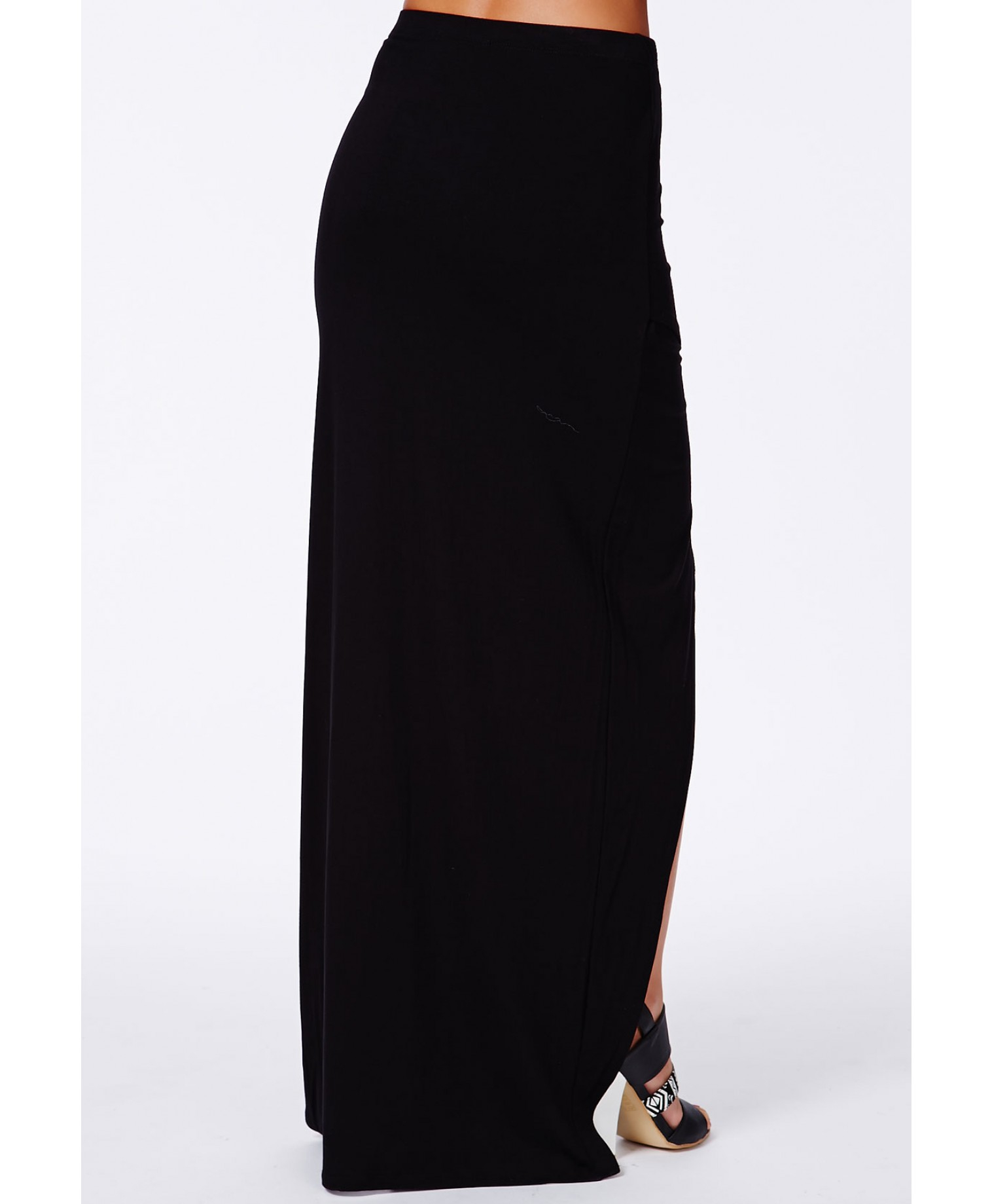 missguided calandre black wrap front maxi skirt in black